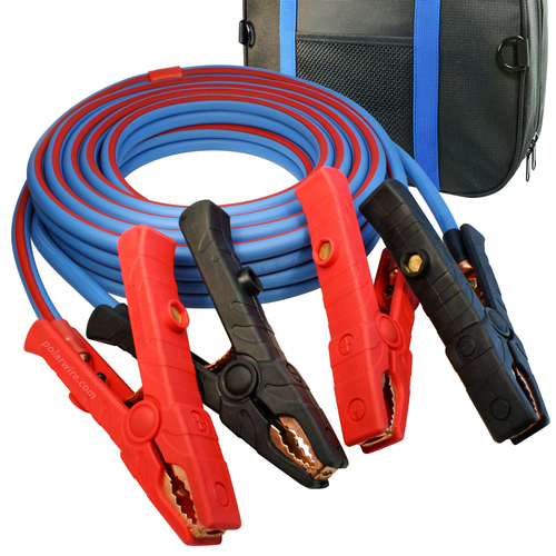 20' Cold Weather Heavy Duty Jumper Cable 1/0 AWG  Booster with 1000 Amp Dual Live Jaw Copper Clamps