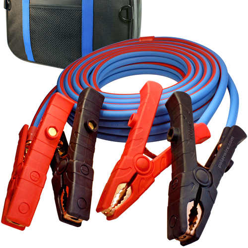 25' Cold Weather Heavy Duty Jumper Cable  1/0 Gauge Booster with 1000 amp solid copper dual live jaw clamps and rugged jumper cable storage bag