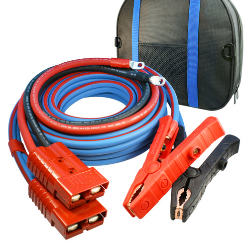 30' Cold Weather Heavy Duty Jumper Cable Clamp to Harness  1/0 Gauge Booster System