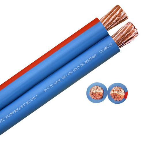 1/0 AWG Arctic Superflex Blue is a highly flexible, fine stranded, double conductor copper wire with a tough, abrasion and chemical resistant jacket