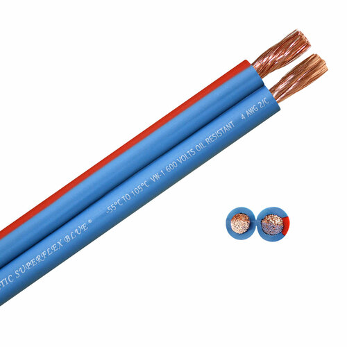 100 foot spool Arctic Superflex Blue 4 gauge double conductor wire - 100% copper fine strand conductors - Made in the USA