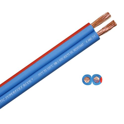 100 foot spool Arctic Superflex Blue 6 gauge flexible, fine stranded 100% copper parallel bonded double conductor wire