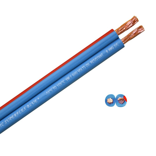 Arctic Superflex Blue 8 gauge flexible, fine stranded 100% copper parallel bonded double conductor wire is made in the USA