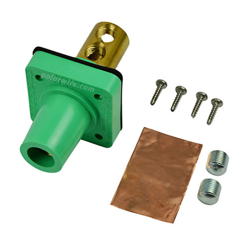 Marinco green 400A CL 16 Series female single pin panel mount cam lock connector with set screw for 2-2/0 AWG cable