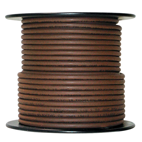Arctic Ultraflex Blue Single Conductor Wire 100% copper tinned fine strand, 600v applications, 10 AWG Brown, 100 foot spool