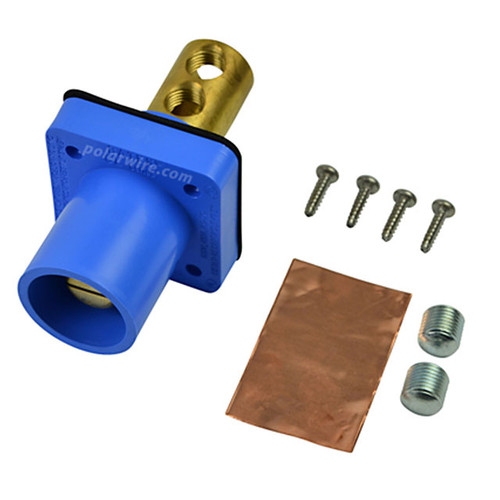 Marinco blue 400A CL 16 Series male single pin panel mount cam lock connector with set screw for 2-2/0 AWG cable