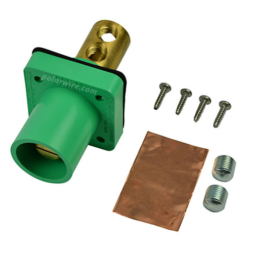 Marinco green 400A CL 16 Series male single pin panel mount cam lock connector with set screw for 2-2/0 AWG cable