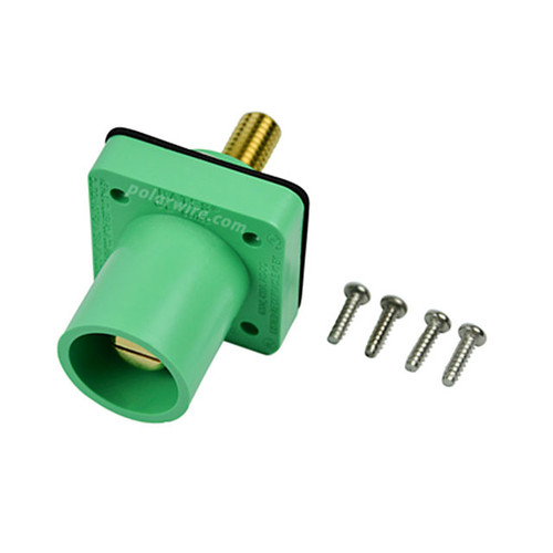 Marinco green 400A CL 16 Series male single pin panel mount cam lock connector with threaded stud for 2/0-4/0 AWG cable