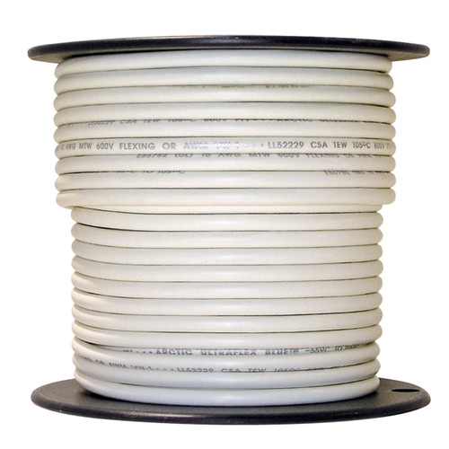 100 foot spool White 10 AWG Arctic Ultraflex Blue Single Conductor Wire 100% copper tinned fine strand, 600v applications