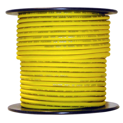 100 foot spool Yellow 10 AWG Arctic Ultraflex Blue Single Conductor Wire 100% copper tinned fine strand, 600v applications