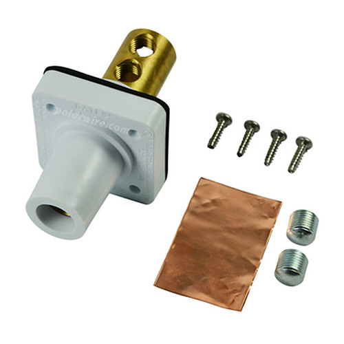Marinco white 400A CL 16 Series female single pin panel mount cam lock connector with set screw for 2-2/0 AWG cable