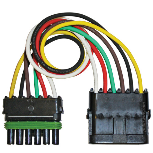 12 inch 6 pole Weather Pack Pigtail wired with 18 AWG Arctic Ultraflex Blue wire in red, white, green, brown, yellow and black