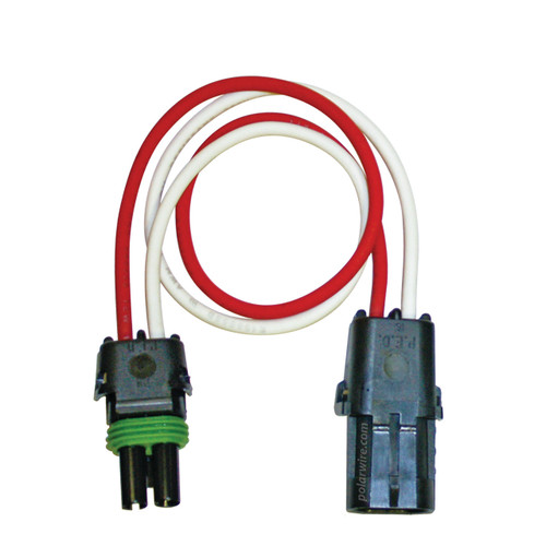 12 inch 2 pole Weather Pack Pigtail wired with 14 AWG Arctic Ultraflex Blue wire in red and white