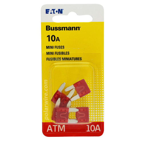 ATM mini blade 10 amp fuse Bussmann package of 5