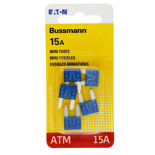 ATM mini blade 15 amp fuse Bussmann package of 5