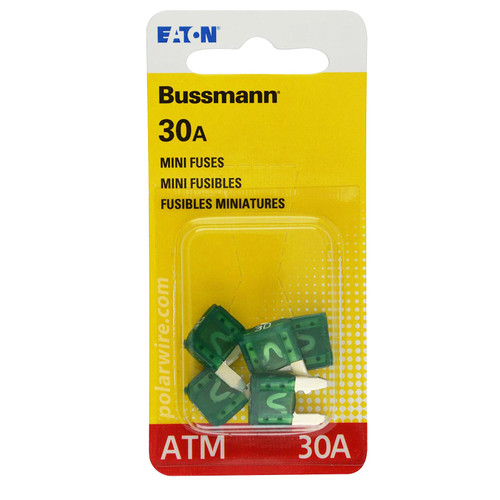 ATM mini blade 30 amp fuse green Bussmann package of 5