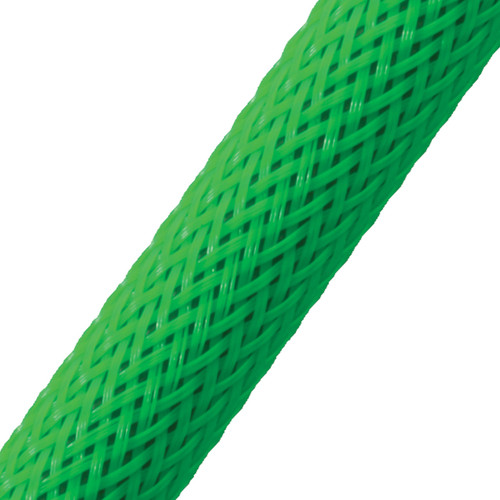 "BRAIDED SLEEVE 1/2"" 24' NEON GREEN EXPANDS 1/4""-3/4"""