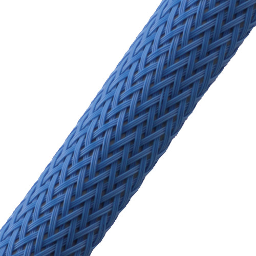"""BRAIDED SLEEVE 3/8"""" 30' NEON BLUE EXPANDS 3/16""""-5/8"""""""