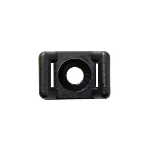 5/8 inch black UV resistant nylon 6.6 zip tie base saddle mount, screw applied, 18-50 pound pull strength