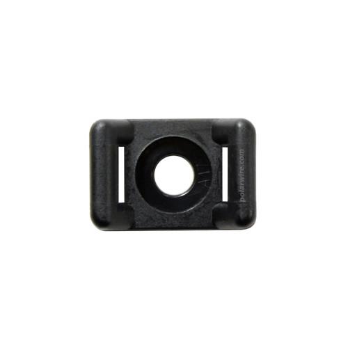 5/8 inch black UV resistant nylon 6.6 zip tie base saddle mount, screw applied, 18-50 pound pull strength