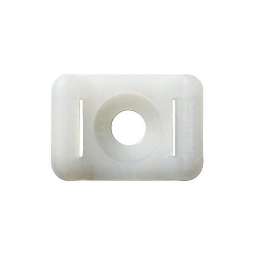 7/8 white nylon 6.6 zip tie base saddle mount, screw applied, 18-120 pound pull strength