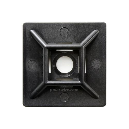 adhesive zip tie mount with screw hole, black UV 6.6 nylon, 1.5 inches