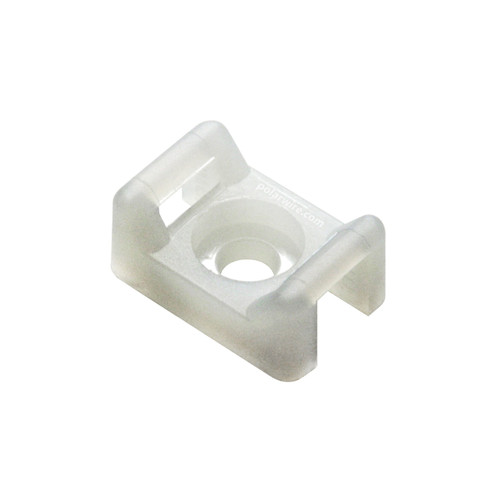 5/8 inch natural nylon 6.6 cable tie saddle mount - screw applied, 18-50 pound pull strength