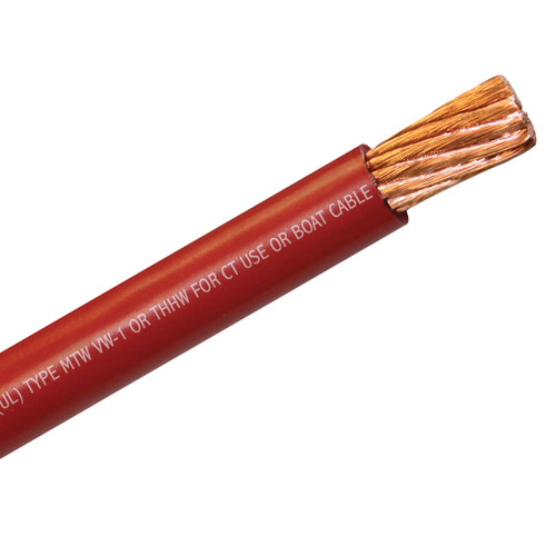 2/0 AWG red multipurpose flexible building wire, single conductor boat cable, fine strand battery cable, flexible welding cable