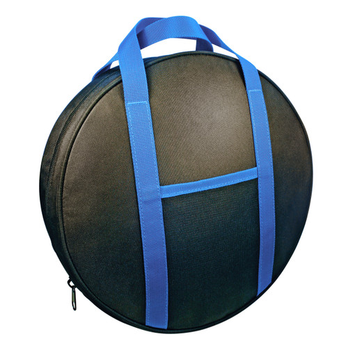 Durable nylon canvas jumper cable bag, 13 inches diameter by 3 inches high