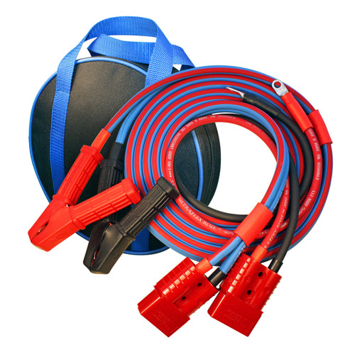 Quality ATV UTV booster cables with plug in harness, 12 ft total length