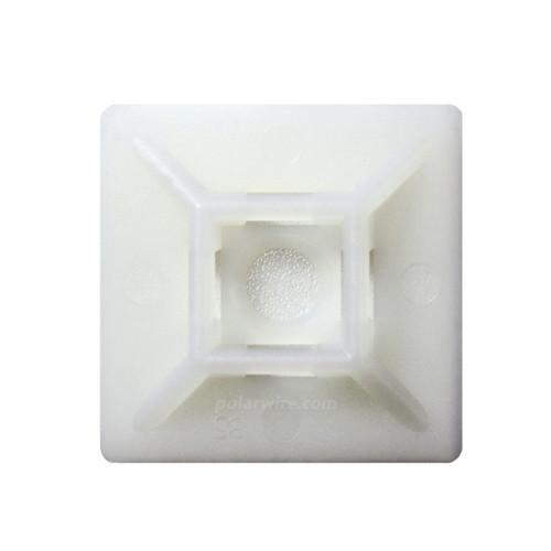adhesive zip tie mount with screw hole, natural 6.6 nylon