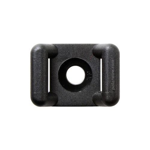 7/8 inch black weather resistant 6.6 zip tie base saddle mount, screw applied, 18-120 pound pull strength