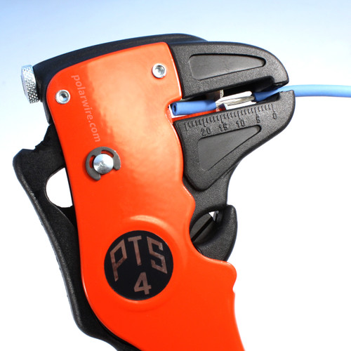 The PTS4 wire stripping tool is designed for stripping single conductor wire from 24 AWG to 9 AWG