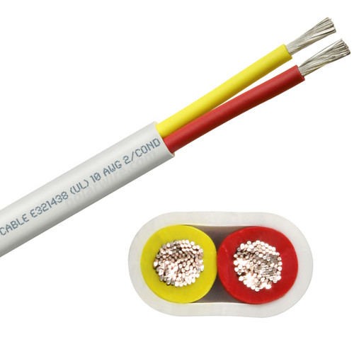 10 AWG flat yellow and red safety dc duplex marine grade tinned copper bc5w2 boat cable features ultra flexible Class K fine copper stranding for flexibility and conductivity, exceeds ABYC standards, UL Listed, CSA Certified