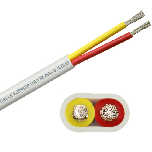 12 AWG flat yellow and red safety dc duplex marine grade tinned copper bc5w2 boat cable features ultra flexible Class K fine copper stranding for flexibility and conductivity, exceeds ABYC standards, UL Listed, CSA Certified