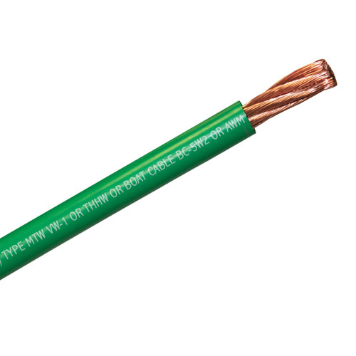 4 AWG green multi listed flexible wire is rated and certified for use as flexible building wire, single conductor boat cable, fine strand battery cable, flexible welding cable