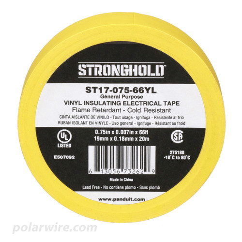 3/4 inch Yellow PVC Vinyl Electrical Tape Panduit Stronghold