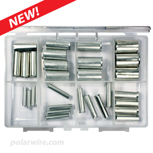 Assorted wire ferrules in eight sizes from 8 gauge to 4/0 gauge in clear storage container