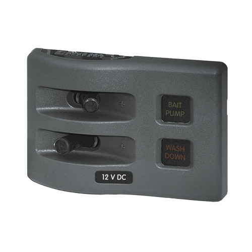4302 WeatherDeck 12V DC Waterproof Fuse Panel - Gray 2 Positions