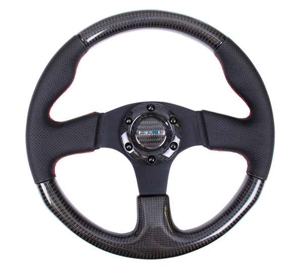 NRG Carbon Fiber Steering Wheel (315mm) Leather Trim w/Red Stitching