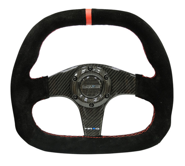 NRG Carbon Fiber Steering Wheel (320mm) Flat Btm. Blk Suede/Red Stitch w/CF Spokes & Red Center Mark