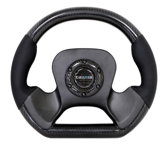 NRG Carbon Fiber Steering Wheel (320mm) CF Center Plate & Two-Tone Carbon w/Leather Trim Handles