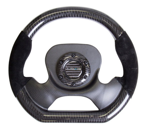 NRG Carbon Fiber Steering Wheel (320mm) CF Center Plate & Two-Tone Carbon w/Suede Trim Handles