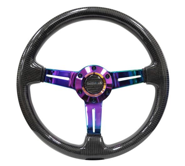 NRG Carbon Fiber Steering Wheel (350mm / 1.5in. Deep) Neochrome 3-Spoke Design w/Slit Cuts