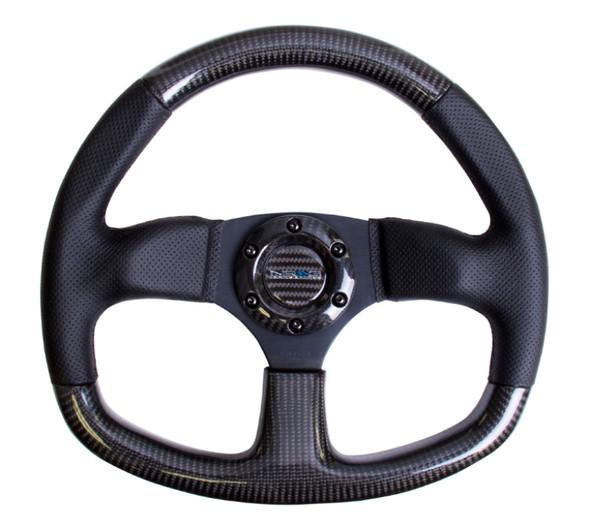 NRG Carbon Fiber Steering Wheel (320mm) Flat Bottom & Leather Trim w/Black Stitching