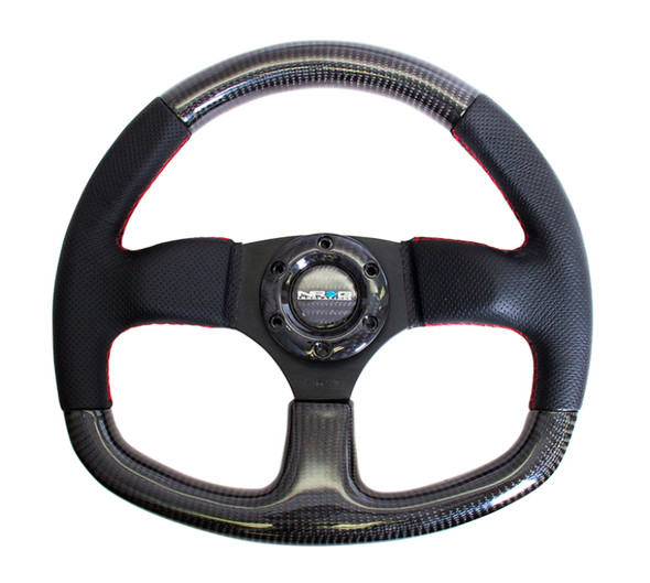 NRG Carbon Fiber Steering Wheel (320mm) Flat Bottom & Leather Trim w/Red Stitching