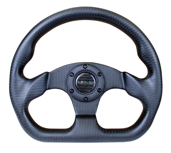 NRG Carbon Fiber Steering Wheel (320mm) Flat Bottom Matte Black Carbon