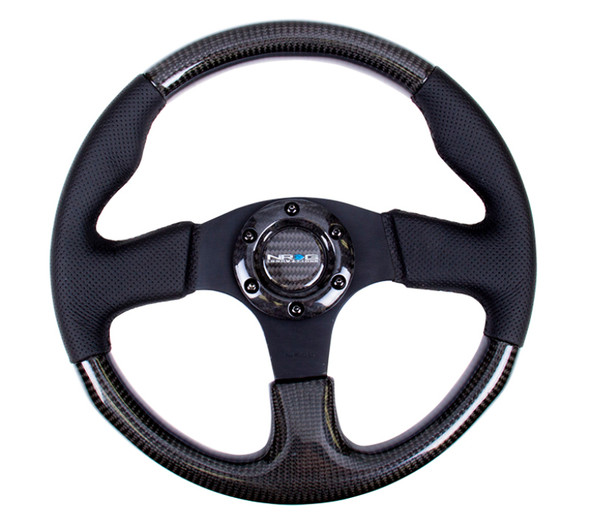 NRG Carbon Fiber Steering Wheel (315mm) Leather Trim w/Black Stitching