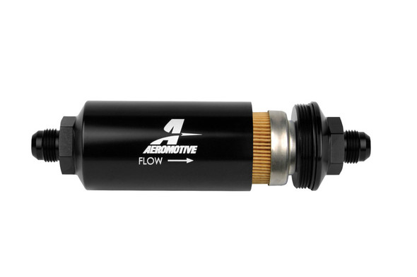 Aeromotive In-Line Filter - (AN -8 Male) 10 Micron Fabric Element Bright Dip Black Finish
