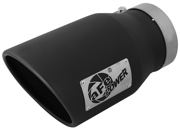 aFe MACHForce XP 5in 304 Stainless Steel Exhaust Tip 5 In x 7 Out x 12L in Bolt On Right - Black